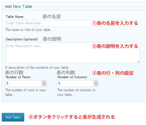 Add New(新しいテーブルの追加)