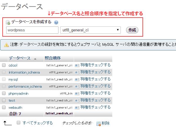 データベースと照合順序を指定